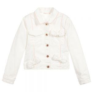 Billieblush Girls Ivory Cotton Bow Jacket
