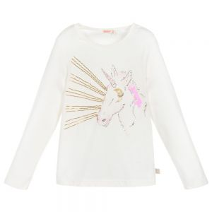 BILLIEBLUSH Girls Ivory Cotton Unicorn Top