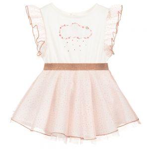 Billieblush Girls Pink Glitter Tulle Dress