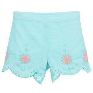 Billieblush Girls Turquoise Cotton Shorts