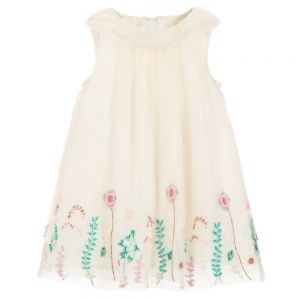 Billieblush Ivory Embroidered Tulle Dress