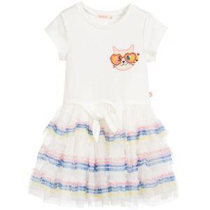 Billieblush Ivory Tulle & Jersey Cat Dress