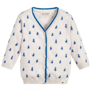 Billybandit Boy's Beige And Blue Cardigan