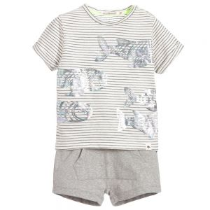 Billybandit Boy's Grey Shimmering Fish Shorts Set