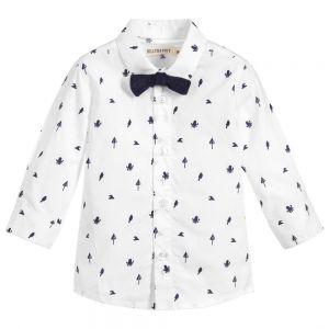 Billybandit Boy's White Cotton Shirt
