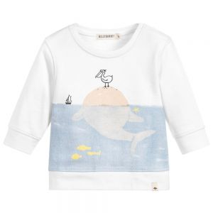 Billybandit Boy's Seaside Print White Sweatshirt