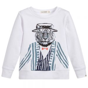 Billybandit Boy's White Tiger Sweatshirt