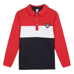 3Pommes Red, White and Navy Stripe Cotton Polo Shirt