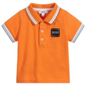 BOSS Baby Boys Orange Piqué Polo Shirt