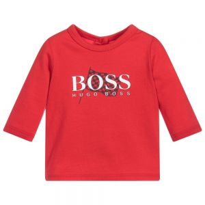 BOSS Baby Boys Red Cotton Long Sleeved Logo Top