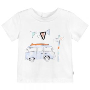 BOSS Baby Boys White Cotton Camper Van T-Shirt