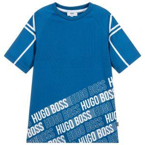 BOSS Boys Cobalt Blue Cotton T-Shirt