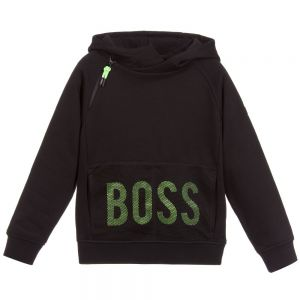 BOSS Boy's Black Cotton Hooded Top