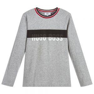 BOSS Boys Grey Long Sleeved Cotton Logo Top