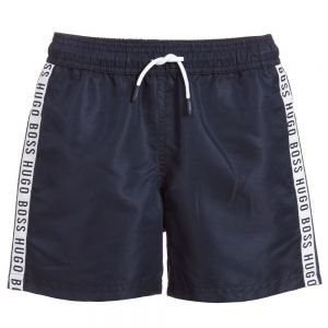 BOSS Boys Navy Blue Sports Logo Taped Shorts