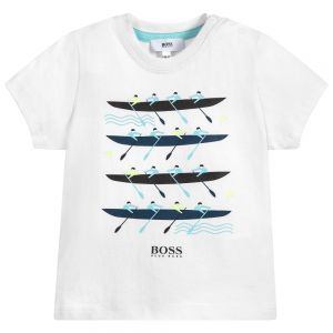 BOSS Boys White Cotton Rowing Boat T-Shirt