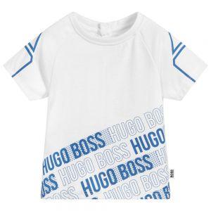BOSS Boys White Polycotton T-Shirt