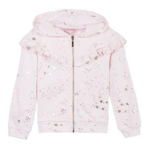 LILI GAUFRETTE Girl's Pink Cotton Zip-Up Top