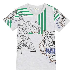 Kenzo Kids Boys Grey Cotton Disco Jungle T-Shirt