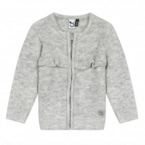 3Pommes Girls  Knitted Grey Cotton Zip Up Cardigan