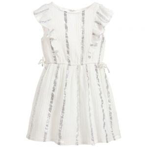 Carrément Beau Girls Ivory & Silver Dress