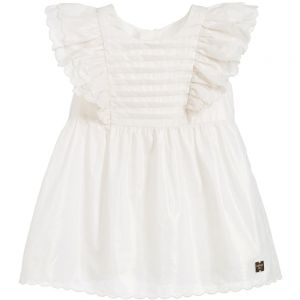 Carrément Beau Girl's Pretty Ivory and Gold Cotton Dress