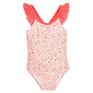 Carrément Beau Girl's Orange Floral Swimsuit