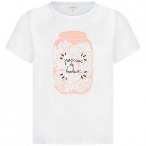 Carremént Beau Girl's White Flower Jar T-Shirt