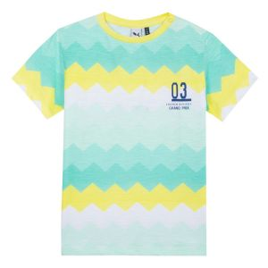 3Pommes Boys Green,Yellow and White Cotton T-Shirt