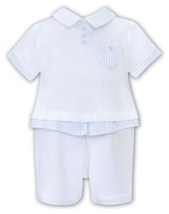 Sarah Louise Boys 'Dani' White and Pale Blue Polo Shortie