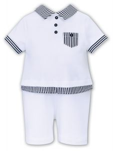 Sarah Louise Boys 'Dani' White and Navy Blue Polo Shortie