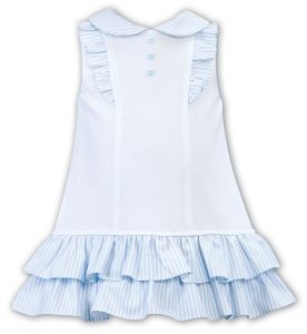 Sarah Louise Girls 'Dani' White and Pale Blue Blue Dress