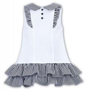 Sarah Louise Girls 'Dani' White and Navy Blue Dress
