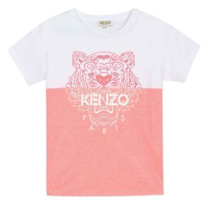 Kenzo Kids Girls Pink and White Iconic Tiger T-Shirt