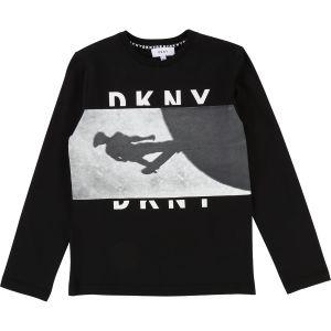 DKNY Boys Black Cotton Long Sleeved Top
