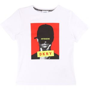 DKNY Boys White Cotton #NYMADEME T-Shirt