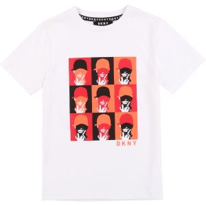 DKNY Black & Red Cotton T-Shirt