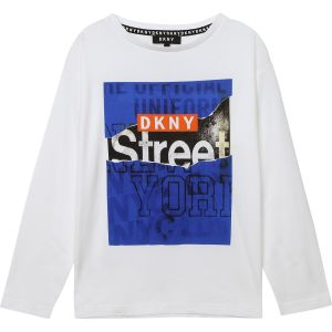 DKNY White Cotton Logo Top