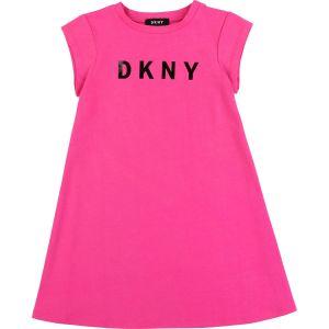 DKNY Neon Pink  Cotton Logo Dress