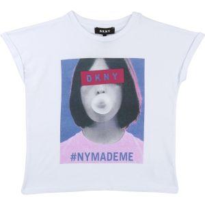 DKNY Girls White Cotton NY T-Shirt