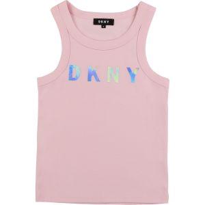 DKNY Light Pink Cotton Holographic Logo Vest Top