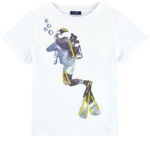 Il Gufo Boys White Cotton Scuba Diver T-Shirt