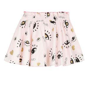Kenzo Kids Girls Light Pink Logo Skater Skirt