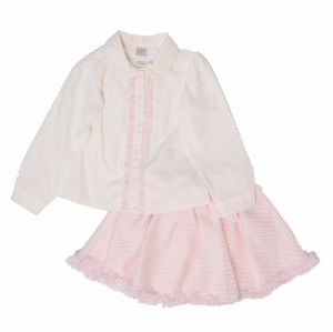 Pretty Originals Ivory & Pink Blouse and Skirt Set