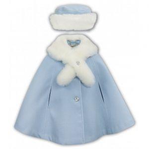 Sarah Louise Girls Blue Faux Fur trimmed Cape