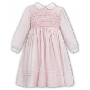 Sarah Louise Pink Floral Hand-Smocked Pleated Bottom Dress