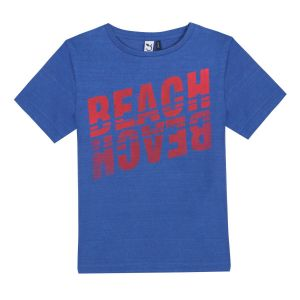 3Pommes Boys Blue Cotton Beach Logo T-Shirt