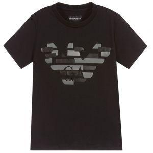 Emporio Armani Boys Black Eagle Logo Cotton T-Shirt
