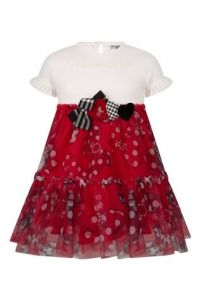 Monnalisa White and Red Jersey & Tulle Dress