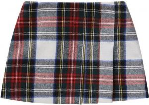 Il Gufo Red Tartan Wool Skirt